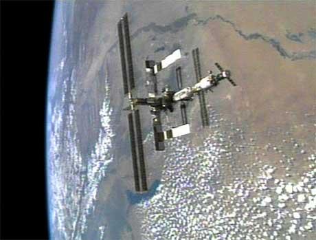 Dette bildet av den internasjonale romstasjonen ble tatt fra