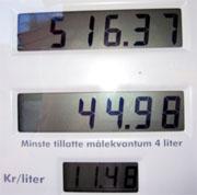 Onsdag 10. august var prisen for 95 oktan bensin 11,48 kroner per liter på Ustaoset.