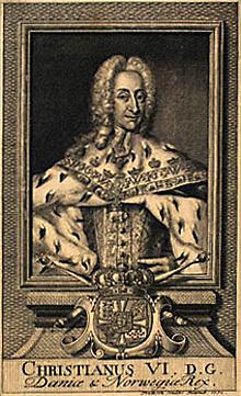 Kong Christian 6. Bildet er hentet fra Det Kongelige Biblioteks web-site, www.kb.dk, 12.08.05.
