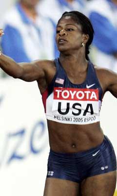 Suziann Reid løp utenfor sin bane på første etappe. (Foto: AFP/Scanpix)
