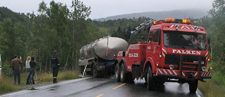 TINE-trailer velta på Kvamskogen. Foto: Audhild Paus