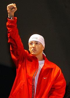 <b>Sliter med å sove:</b> Eminem har tydeligvis søvnproblemer og har blitt avhengig av sovemedisin. Foto: Rob Widdis, AP Photo / Scanpix.