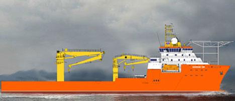 Ulstein Verft skal bygge nytt skip for Solstad. Grafikk: Ulstein verft.