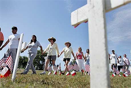 Amerikanere som har mistet sine kjære i Afghanistan.(Foto:AFP/Scanpix)