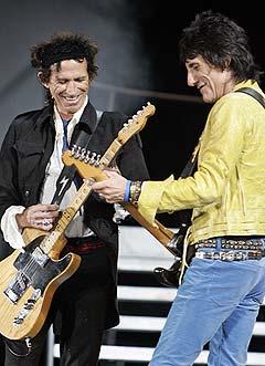 Etter USA står Sør-Amerika, Australia og Asia på kjøreplanen for Keith Richards, Ron Wood og resten av gutta i Rolling Stones, før turen neste sommer kommer til Europa. Foto: Townson, AP Photo / Scanpix.