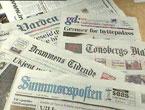 ORKLA-AVISER: Et knippe av de avisene som nå kan bli solgt til Mecom og David Montgomery.