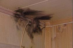 Skader i taket viser at huset kunne ha tatt fyr i lynnedslaget. Foto: Frode Meskau.