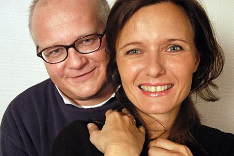Finn Bjelke og Ingrid Bjørnov boltrer seg i Herreavdelingen i NRK P1. (Foto: Jon-Annar Fordal)