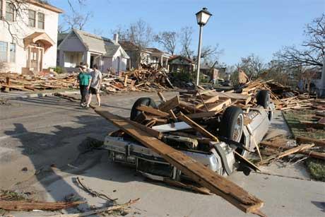 """Biloxi ser ut som et krigsområde etter """"Katrina""""s herjinger. (Foto: Scanpix / AFP)"""