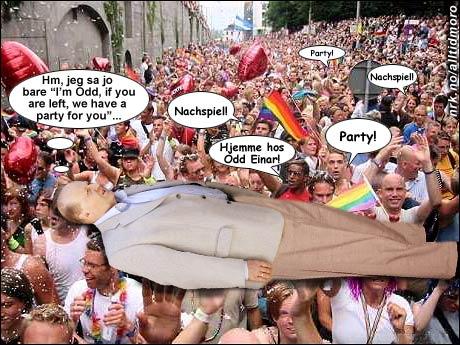 Paraden misforsto Dørums forsøk på å reklamere for partiet Venstre, og bar ham på gullstol hele veien hjem til leiligheten hans for å fortsette festen der. (Trym Anonsen)