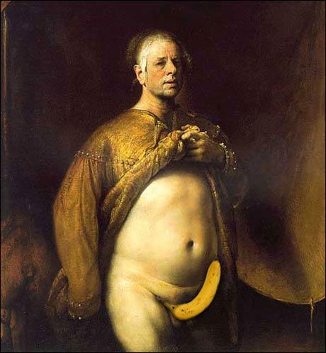 """""""Selvportrett med gul banan"""" av Odd Nerdrum. (Alltid Moro)"""