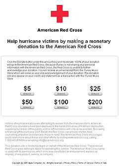 På iTunes kan du velge hvor mye du vil gi i støtte til ofrene for Katrina.