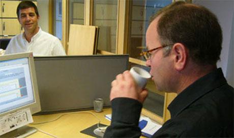 Olemic Thommessen i nettmøte i Nrk Hedmark og Oppland for tre uker siden. Foto: Jorun Vang/Nrk