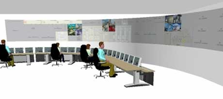 I det nye kontrollrommet for Snøhvit-anlegget har Statoil bestemt seg for å installere en storskjerm med de enorme målene 16 x 1.5 meter. Skjermen skal vise oversiktsinformasjon for hele anlegget. Ill. IFE