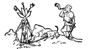Alrune graves opp av hund. Ill.: Kobberstikk fra 1700-tallet, foto: NRK.