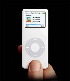 Slik ser den nye Apple Nano-spilleren ut. Foto: Apple.