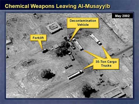 Ett av de angivelige bevisene på irakiske masseødeleggelsesvåpen var dette bildet, bl.a. skal vise utstyr for rensing etter bruk av kjemiske eller biologiske våpen. (Arkivfoto: USAs utenriksdepartement/ AP/ Scanpix)