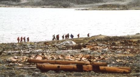 I Virgohamna får bare 12 turister gå i land ad gangen. Her er det minst fire for mye...