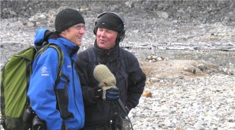 Historiker Thor Bjørn Arlov (tv) og programleder Ivar Grydeland. Foto: Bjørn Munro Jensen.