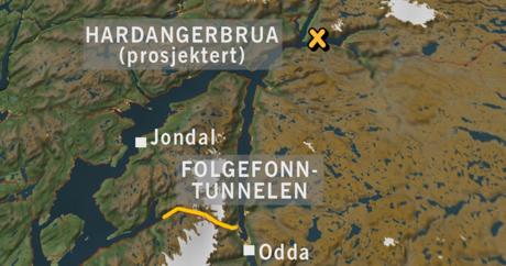 Hardangerbrua og Folgefonntunnelen. Grafikk: Sigurd Hamre/NRK.