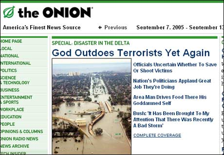 Forsiden til satiremagasinet The Onion: Gud overgår terroristene enda en gang.