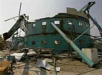 Akvariet etter orkanens herjinger. Fot:o: EVN