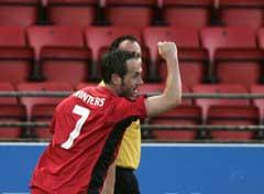 Robbie Winters jubler etter 1-0 målet. (Foto: Heiko Junge / SCANPIX)
