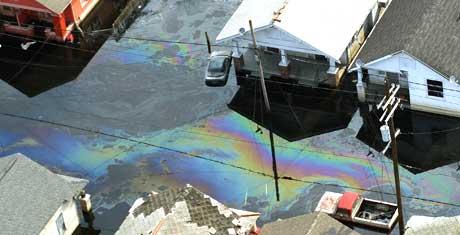 I tillegg til omfattende oljesøl fra boreriggene i Mexicogulfen, rammes New Orleans av omfattende forurensning fra de 250.000 kjøretøyene som ble tatt av vannmassene etter orkanen