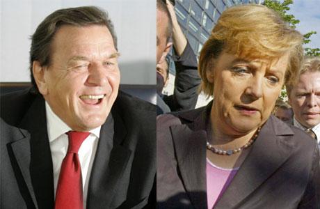 Gerhard Schröder og Angela Merkel. (Foto: Scanpix / AFP / Reuters)