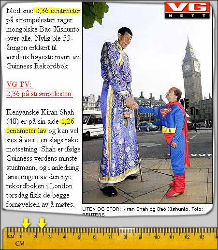 Disse mennene er ikke mer enn 2,36 og 1,26 centimeter høye, melder VG.