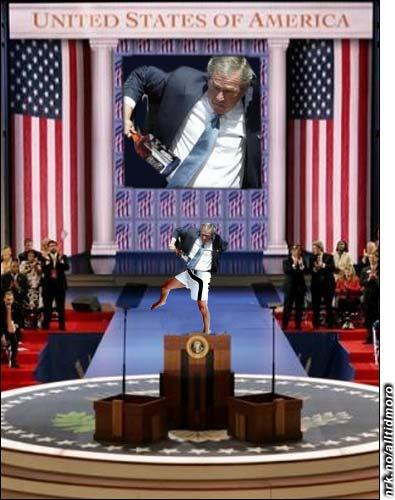 """Kilder i Det Hvite Hus opplyser at Bush ikke var full under gårsdagens tale, bare """"litt ute av seg på grunn av all terrorismen i verden"""". (Alltid Moro)"""