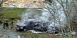 Ransbilene i brann i Sørmarka (foto:NRK Rogaland)
