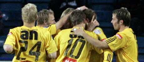 Bodø/Glimt-jubel etter scoring (Foto: Knut Falch / SCANPIX )