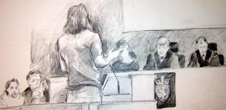 Alf Henrik Christensen forklarer seg for retten. Tegning: Ingrid Haukelidsæter