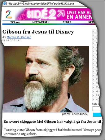 TV2 Nettavisen melder at Mel Gibson har anlagt skjegg.