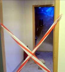 Det var på dette toalettet i rådhuset at det oppstod brann. Foto: MMS-Anders Winlund, NRK