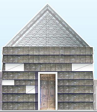 Går det som nonnene på Tautra håper kan de påska 2006 gå inn gjennom dørene P1-lytterne har skaffet og feire påske i kirkedelen av det nye klosteret som er under bygging. (Illustrasjon Tautra Mariakloster)