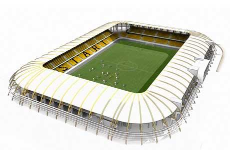 Forslag til hvordan den nye Kristiansand stadion kan se ut.