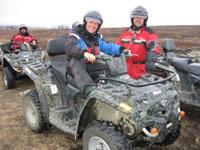 Programleder John-André Samuelsen og Roger Larsson startet turen fra Gargia. Foto:NRK