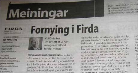 Firda-leiar om fornying