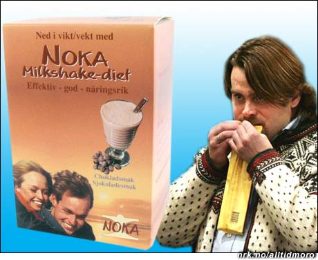Til venstre: NOKA-dietten (et ekte produkt, se nokadietten.no) med sjokoladesmak. Til høyre: NOKAS-dietten, David Toska i ferd med å spise en 200 grams sjokoladeplate i retten. (foto: Scanpix)