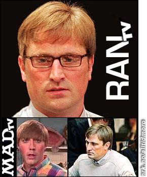 """Nederst til venstre: Den komiske figuren """"Stuart"""" fra MAD-TV, som sendes på NRK2. Øverst og til høyre: Ranstiltalte Kjell Alrich Schumann håper å kunne starte en liknende serie når han slipper ut av fengselet. (Innsendt av Marius Vik)"""