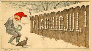 Wilhelm Larsens første norske julekort frå 1883