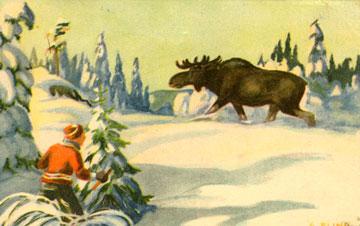 """Gondro Elind, også ein av dei mest produktive kortteiknarane. Det var han som måla biletet som blei kjent som """"Elg i solnedgang,"""" og elgar teikna han ofte."""