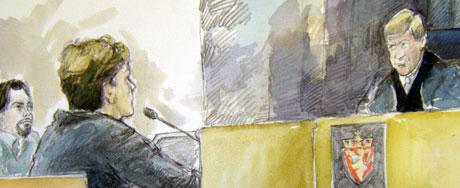 Thomas Thendrup i retten onsdag 5.9.05. Tegnet av: Ingrid Haukelidsæter