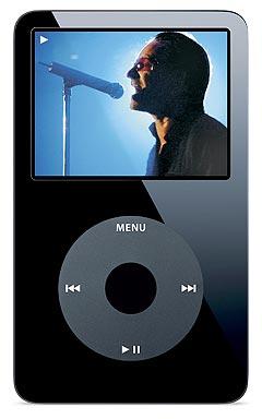 Slik ser den nye iPoden ut med muligheten til å se video. Her av U2. Foto: Apple Computer Inc / Scanpix.