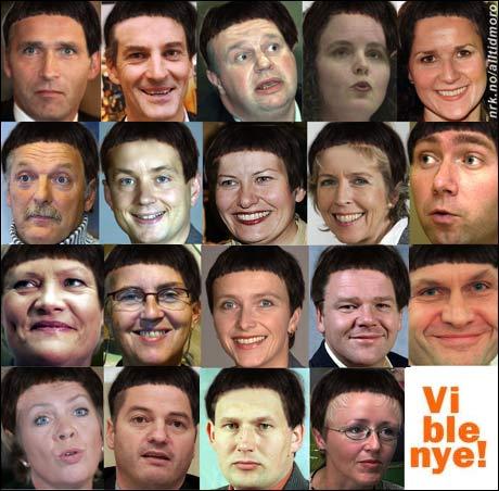 """Fornyelsesministeren starter med en """"bli ny""""-aksjon blant sine regjeringskolleger. Kan du se hvem av disse som er Heidi Grande Røys? (Alltid Moro, etter en ide av Kenneth Skeie) Originalfoto: Scanpix"""
