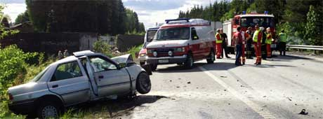 E6 i Råde 27.mai 2001. En av de mange dødsulykkene på E6 gjennom Østfold. Arkivfoto: Erik Johansen / SCANPIX