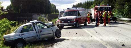 Trafikkulykke på E6 i Råde. Foto: Erik Johansen/SCANPIX