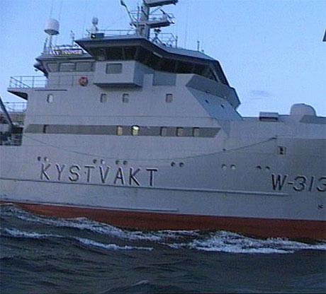 Det er fire båtar frå den norske Kystvakta i området i Barentshavet. (Foto: NRK)